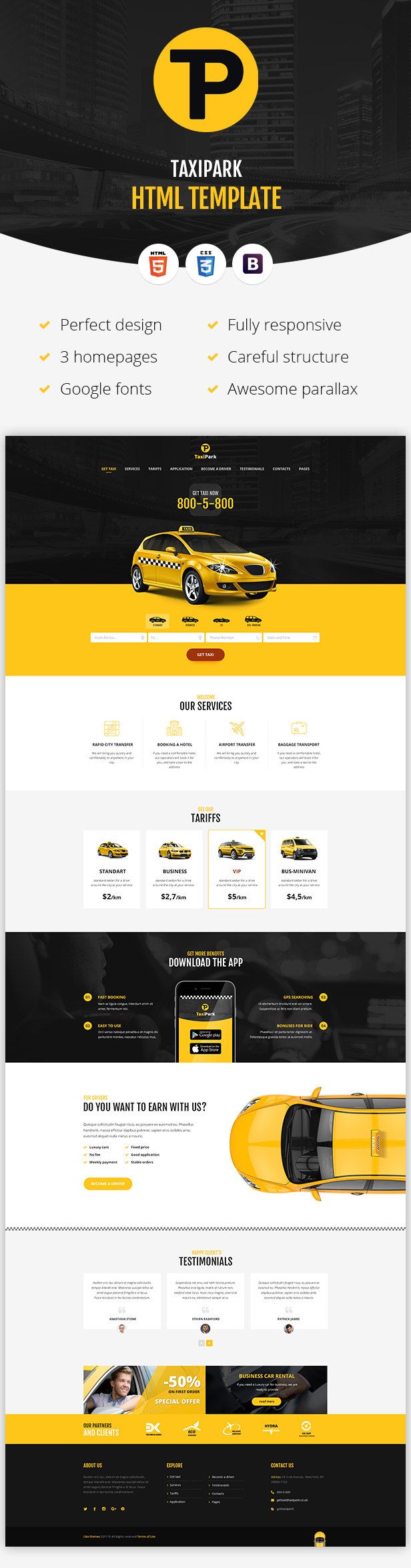 TaxiPark - Taxi Cab Service Company HTML5 Template - 2